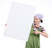 Girl and cardboard Royalty Free Stock Images