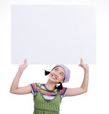 Girl and cardboard Royalty Free Stock Image
