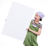 Girl with cardboard Royalty Free Stock Photo