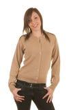 Girl in cardigan. Teen girl modelling cashmere cardigan Stock Image