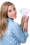 Girl with cards Royalty Free Stock Photo