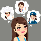 Girl Career Choice. Girl thinking about career options choice with speech bubble royalty free illustration