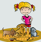 Girl cares of her pets. Vector graphic image with little funny girl cares of her pets Stock Photos