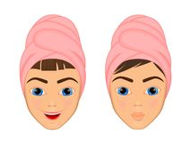 Girl cares and protects her face with various actions, facial, treatment, beauty, healthy, hygiene, lifestyle, set, in a. Towel Stock Images
