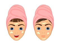 Girl cares and protects her face with various actions, facial, treatment, beauty, healthy, hygiene, lifestyle, set, in a. Towel Stock Photos