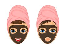 Girl cares and protects her face with various actions, facial, treatment, beauty, healthy, hygiene, lifestyle, set, in a. Towel, black mask Stock Images