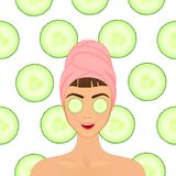 Girl cares and protects her face with various actions, facial, treatment, beauty, healthy, hygiene, lifestyle, set, in a. Towel cucumber Stock Photos