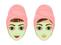 Girl cares and protects her face with various actions, facial, treatment, beauty, healthy, hygiene, lifestyle, set, in a. Towel mask Royalty Free Stock Photo