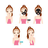Girl Cares And Protects Her Face With Various Actions Set. Facial Beauty Cosmetic Makeup Health Lifestyle Fashion Stock Image
