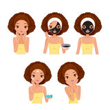Girl Cares And Protects Her Face With Various Actions Set Royalty Free Stock Photography