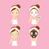 Girl cares and protects her face  with various actions set Royalty Free Stock Photo