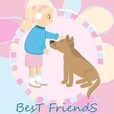 Girl caress the dog Royalty Free Stock Image