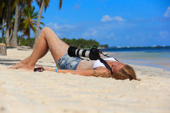 Girl on the Caribbean beach Stock Photos