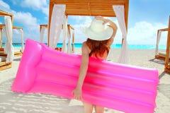 Girl in caribbean tropical beach Stock Image