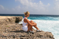 Girl caribean. Island sky sun Royalty Free Stock Photography