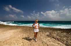 Girl caribean. Island sky sun Stock Photos