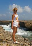 Girl caribean. Island sky sun Stock Photography