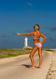 Girl caribean. Island sky sun Stock Photo