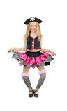 Girl in the carnival costume of pirate for Halloween. Royalty Free Stock Images