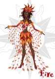 Girl in carnival dress, representing the fire element, articulated doll stock illustration