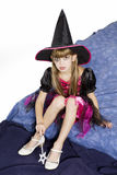 Girl in carnival fancy dress on the eve of Hallowe Royalty Free Stock Images