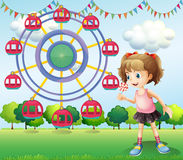 A girl at the carnival. Illustration of a girl at the carnival Stock Photography