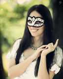 Girl with Carnival Mask Stock Photos