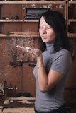 Girl-carpenter in the workshop, Royalty Free Stock Photography