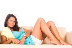 Girl on a carpet Stock Photo
