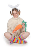 The girl with carrot Stock Photography
