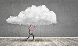 Girl carry cloud Royalty Free Stock Photography