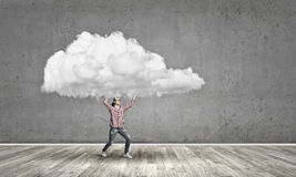 Girl carry cloud Royalty Free Stock Photo