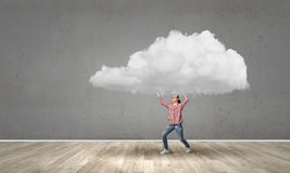 Girl carry cloud Stock Images