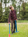 Girl  carry hurdles for bunny Stock Images