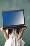 Girl carry laptop Stock Photos