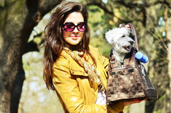 Girl carrying in bag her little white dog Stock Photos