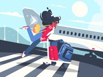 Girl carrying baggage on trolleys for flight. Air transportation service. Vector illustration Stock Photography