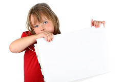 Girl carrying blank paper with room for text Royalty Free Stock Images