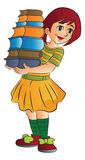 Girl Carrying Books, illustration Royalty Free Stock Photography