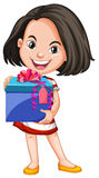 Girl carrying box of gift Stock Photo