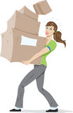 Girl carrying boxes. Royalty Free Stock Photography