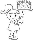 Girl carrying a cake coloring page Royalty Free Stock Photo