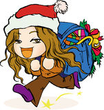 Girl carrying Christmas gifts Stock Photography