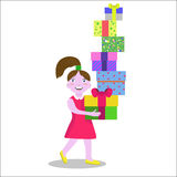 Girl carrying gifts. Smiling little girl in gown carrying a lot of gifts Royalty Free Stock Images