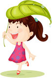 A Girl Carrying Leaf on Head Royalty Free Stock Photos
