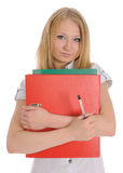 The girl carrying red folder Stock Photography