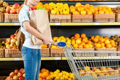 Girl with cart hands bag with fresh vegetables Stock Photos