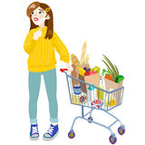 A girl with a cart. Vector  illustration in cartoon style Royalty Free Stock Photography