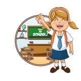 Girl cartoon of back to school design Stock Photography