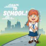 Girl cartoon of back to school design Stock Photo